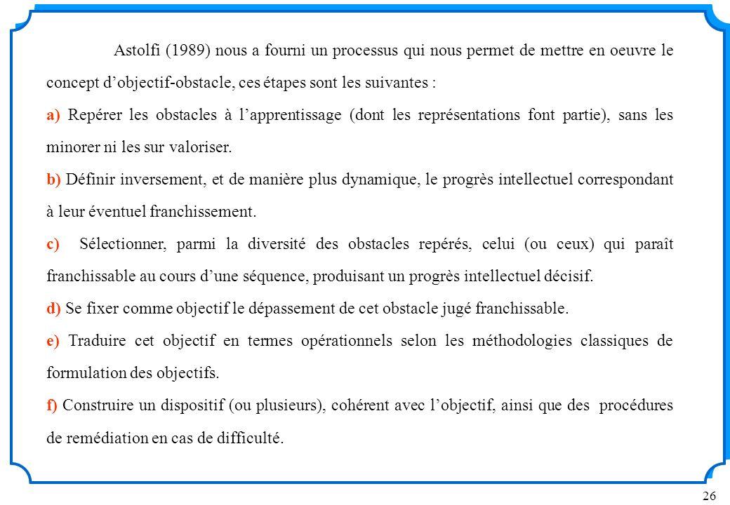 26 Astolfi (1989) nous a fourni un processus qui nous permet de mettre en oeuvre le concept dobjectif-obstacle, ces étapes sont les suivantes : a) Repérer les obstacles à lapprentissage (dont les représentations font partie), sans les minorer ni les sur valoriser.