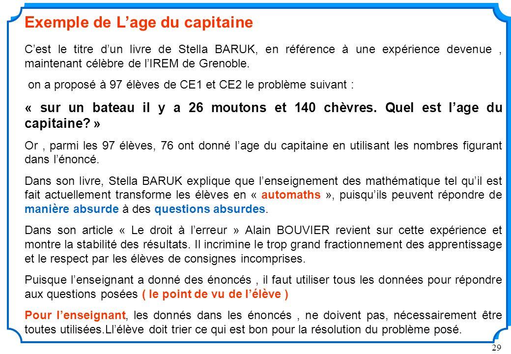 29 Exemple de Lage du capitaine Cest le titre dun livre de Stella BARUK, en référence à une expérience devenue, maintenant célèbre de lIREM de Grenoble.