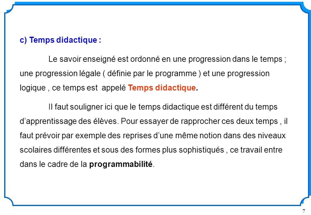 7 c) Temps didactique : Le savoir enseigné est ordonné en une progression dans le temps ; une progression légale ( définie par le programme ) et une progression logique, ce temps est appelé Temps didactique.