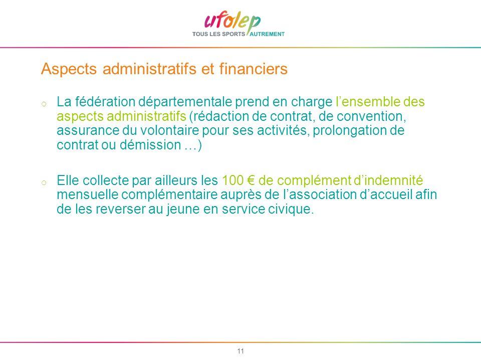 11 Aspects administratifs et financiers o La fédération départementale prend en charge lensemble des aspects administratifs (rédaction de contrat, de
