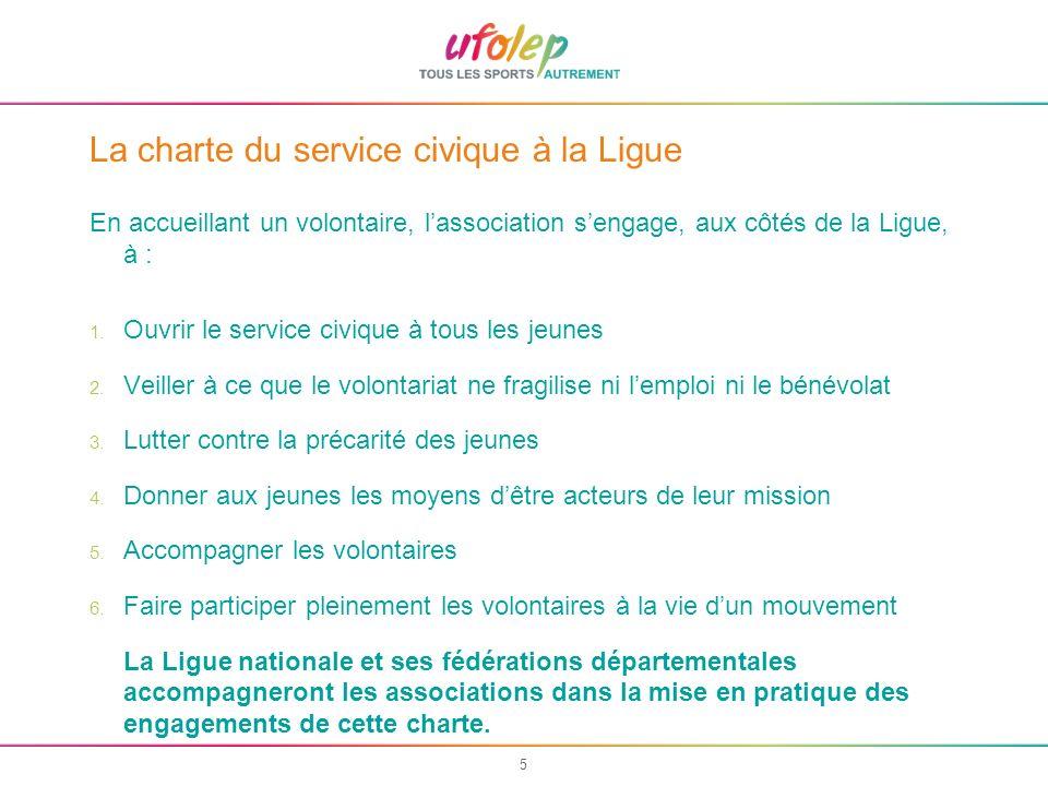 5 La charte du service civique à la Ligue En accueillant un volontaire, lassociation sengage, aux côtés de la Ligue, à : 1. Ouvrir le service civique