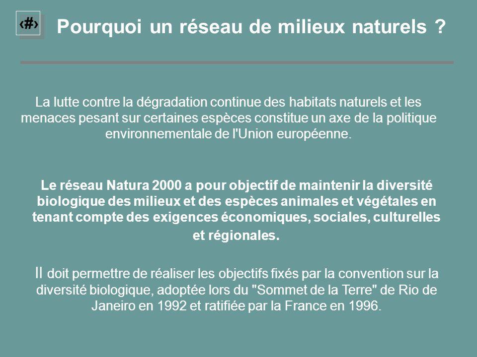 1 Pourquoi un réseau de milieux naturels ? La lutte contre la dégradation continue des habitats naturels et les menaces pesant sur certaines espèces c