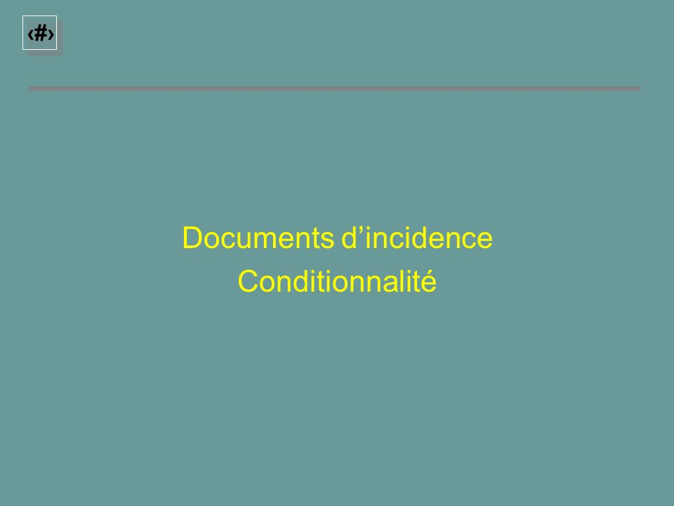14 Documents dincidence Conditionnalité