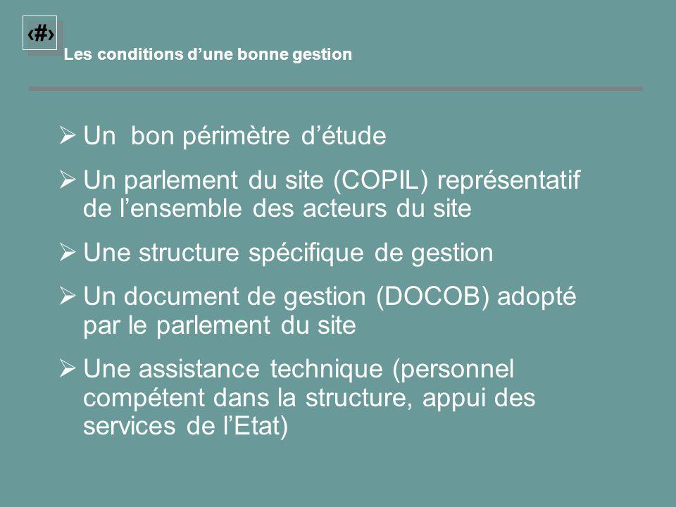 18 Les conditions dune bonne gestion Un bon périmètre détude Un parlement du site (COPIL) représentatif de lensemble des acteurs du site Une structure