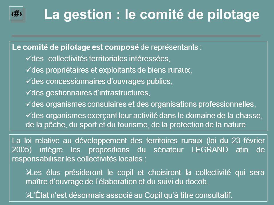 21 La gestion : le comité de pilotage Le comité de pilotage est composé de représentants : des collectivités territoriales intéressées, des propriétai