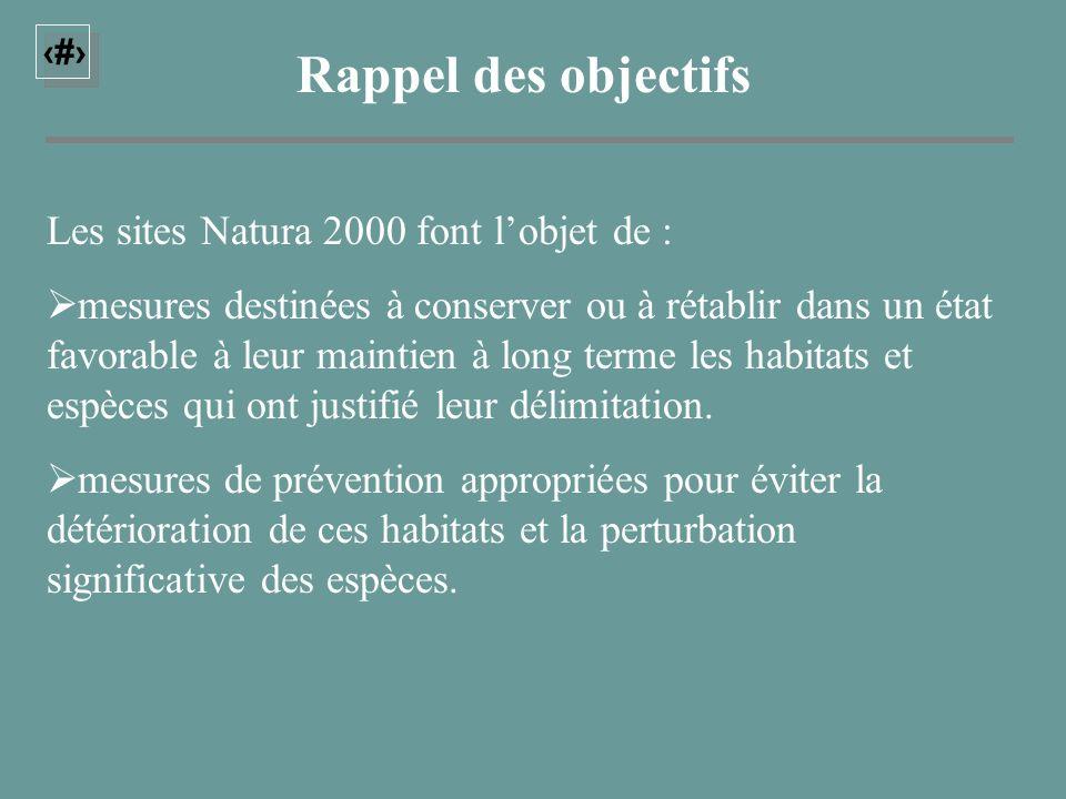 22 Rappel des objectifs Les sites Natura 2000 font lobjet de : mesures destinées à conserver ou à rétablir dans un état favorable à leur maintien à lo