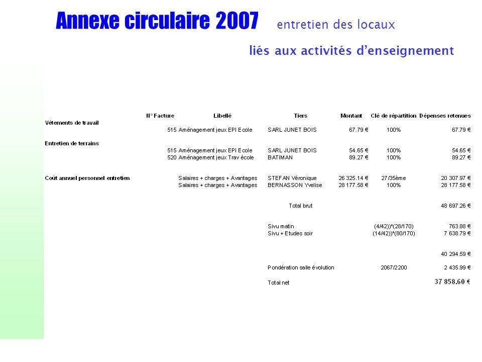 Annexe circulaire 2007 entretien des locaux liés aux activités denseignement
