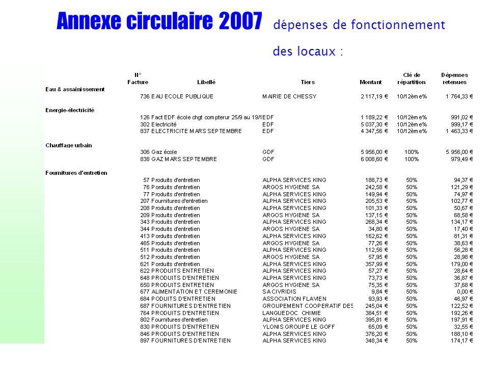 Annexe circulaire 2007 dépenses de fonctionnement des locaux :
