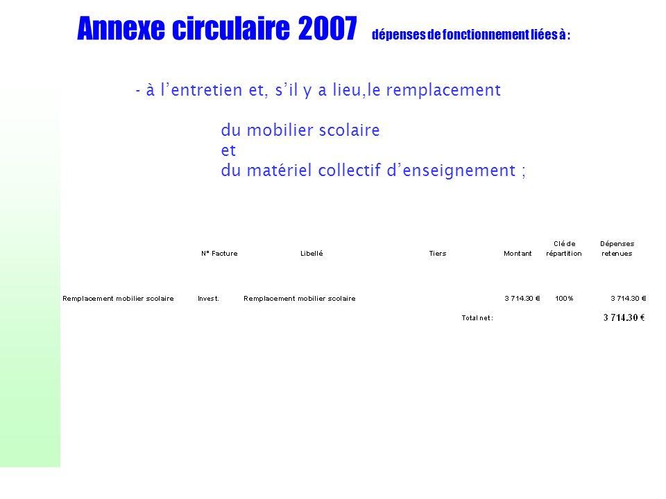 Annexe circulaire 2007 dépenses de fonctionnement liées à : - à lentretien et, sil y a lieu,le remplacement du mobilier scolaire et du matériel collec