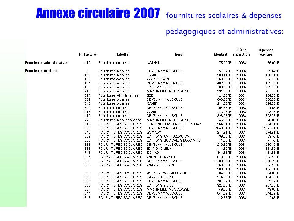 Annexe circulaire 2007 fournitures scolaires & dépenses pédagogiques et administratives: