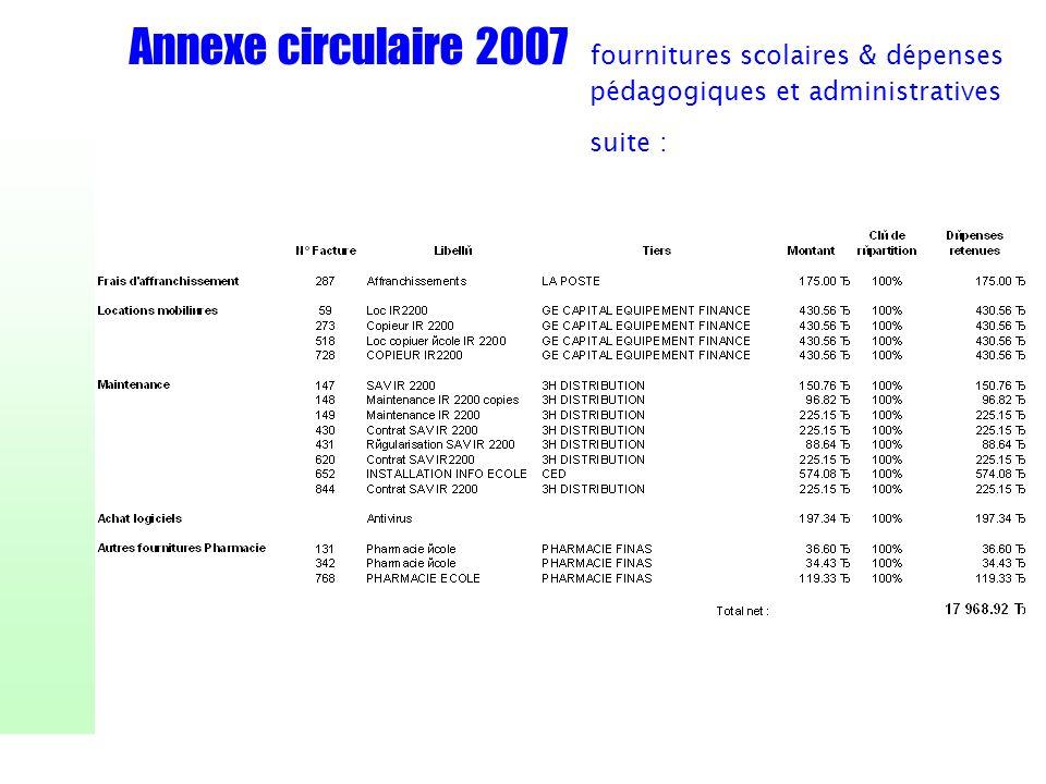 Annexe circulaire 2007 fournitures scolaires & dépenses pédagogiques et administratives suite :