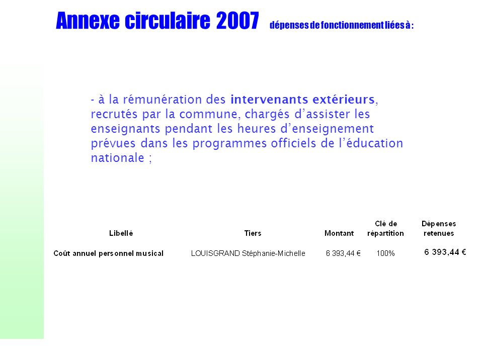 Annexe circulaire 2007 dépenses de fonctionnement liées à : - à la rémunération des intervenants extérieurs, recrutés par la commune, chargés dassiste