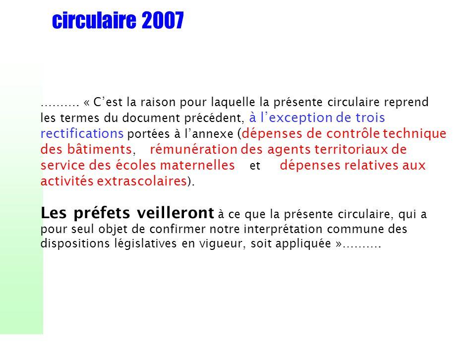 circulaire 2007 ………. « Cest la raison pour laquelle la présente circulaire reprend les termes du document précédent, à lexception de trois rectificati