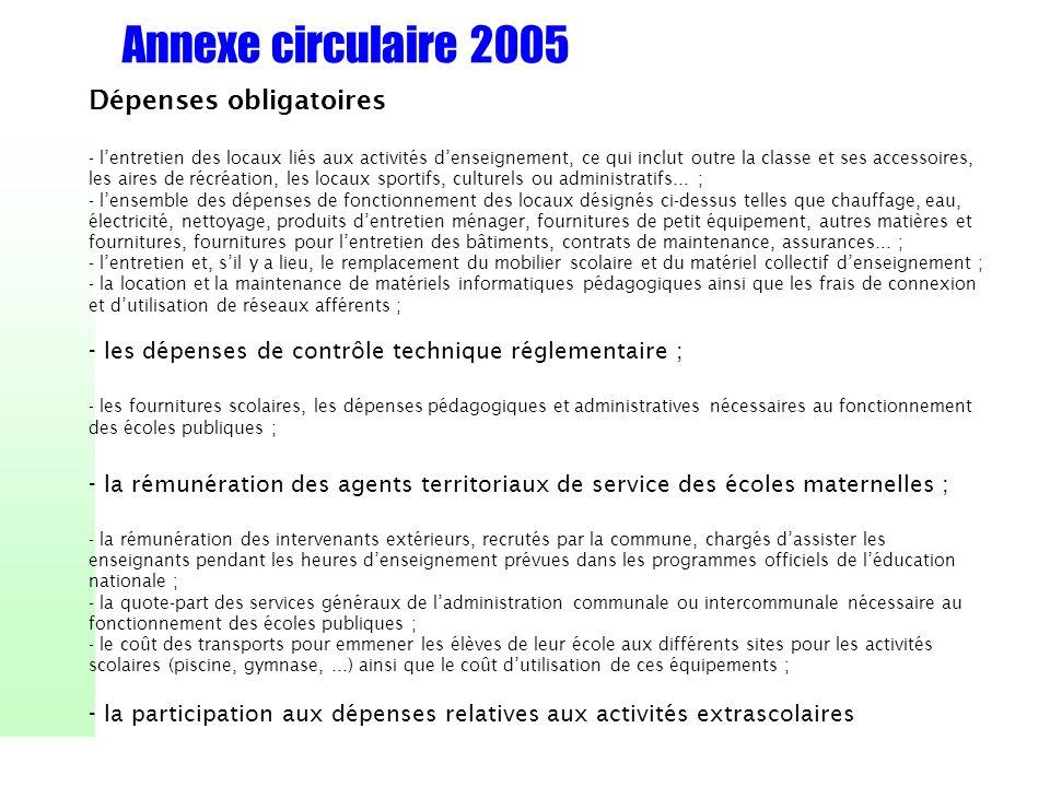 Annexe circulaire 2005 Dépenses obligatoires - lentretien des locaux liés aux activités denseignement, ce qui inclut outre la classe et ses accessoire