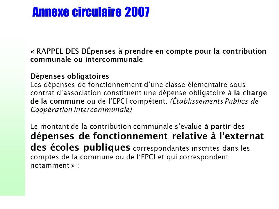 Annexe circulaire 2007 « RAPPEL DES DÉpenses à prendre en compte pour la contribution communale ou intercommunale Dépenses obligatoires Les dépenses d