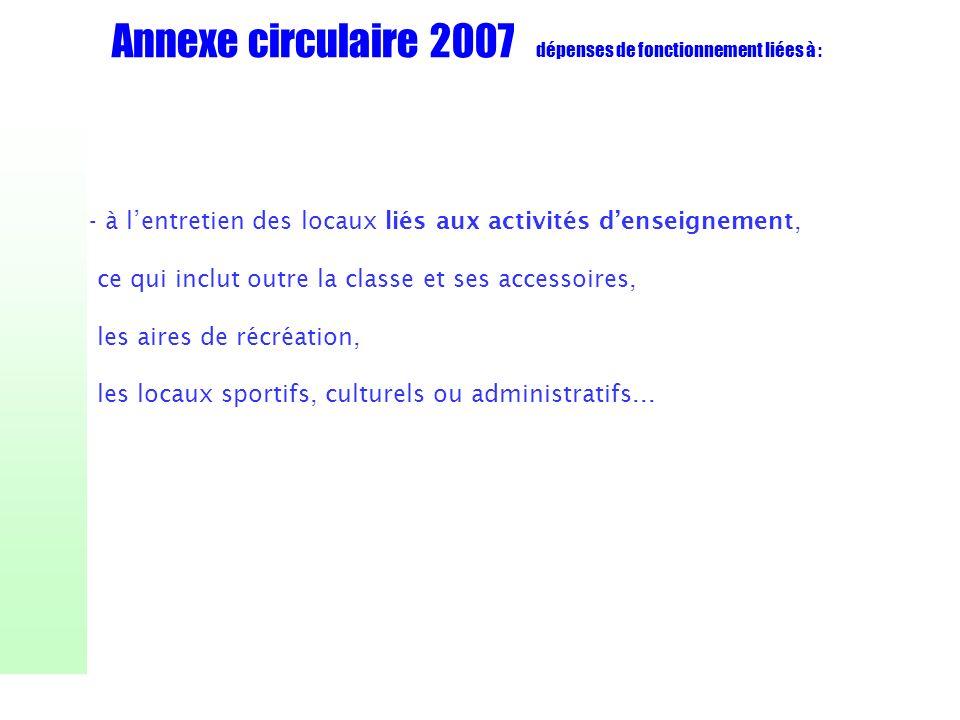 Annexe circulaire 2007 dépenses de fonctionnement liées à : - à lentretien des locaux liés aux activités denseignement, ce qui inclut outre la classe