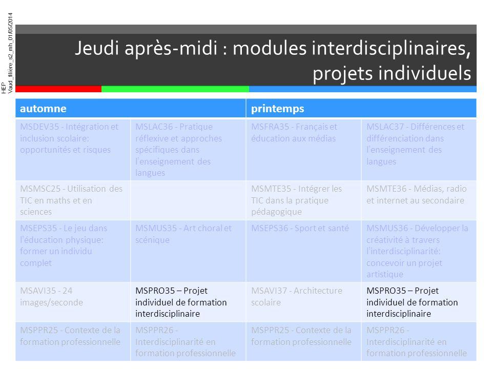 HEP Vaud_filière_s2_mh_01/05/2014 * Pour les étudiants monodisciplinaires, qui ne suivent quune didactique automneprintemps MSDEV35 - Intégration et i