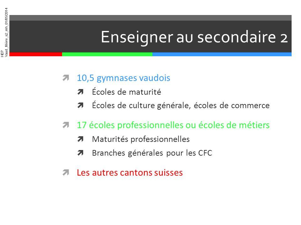 HEP Vaud_filière_s2_mh_01/05/2014 Enseigner au secondaire 2 10,5 gymnases vaudois Écoles de maturité Écoles de culture générale, écoles de commerce 17