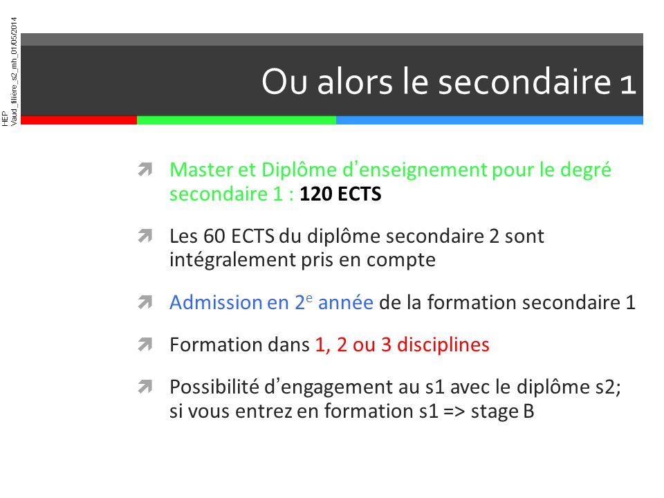 HEP Vaud_filière_s2_mh_01/05/2014 Ou alors le secondaire 1 Master et Diplôme denseignement pour le degré secondaire 1 : 120 ECTS Les 60 ECTS du diplôm