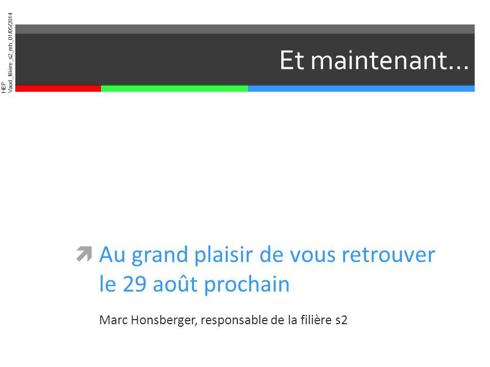 HEP Vaud_filière_s2_mh_01/05/2014 Et maintenant… Au grand plaisir de vous retrouver le 29 août prochain Marc Honsberger, responsable de la filière s2
