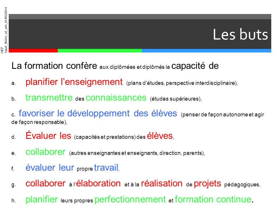 HEP Vaud_filière_s2_mh_01/05/2014 Les buts La formation confère aux diplômées et diplômés la capacité de a. planifier lenseignement (plans d'études, p