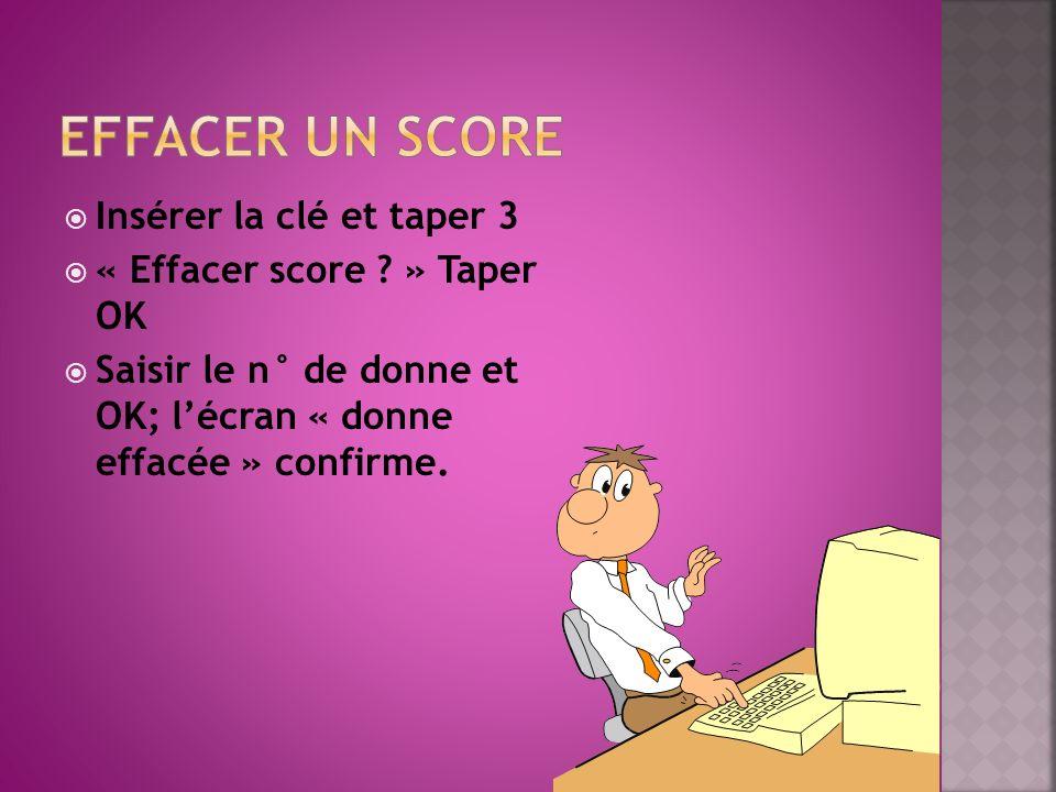 Insérer la clé et taper 3 « Effacer score ? » Taper OK Saisir le n° de donne et OK; lécran « donne effacée » confirme.