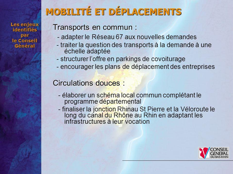 Les enjeux identifiés par le Conseil Général Transports en commun: Transports en commun : - adapter le Réseau 67 aux nouvelles demandes - traiter la q