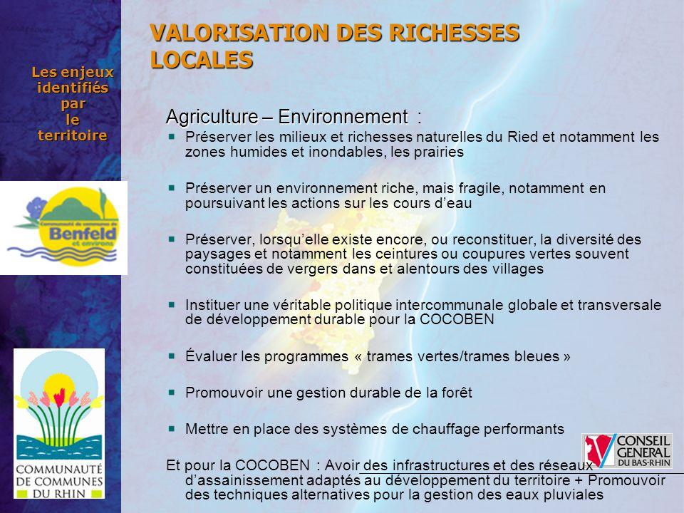 Les enjeux identifiés par le territoire Agriculture – Environnement Agriculture – Environnement : Préserver les milieux et richesses naturelles du Rie