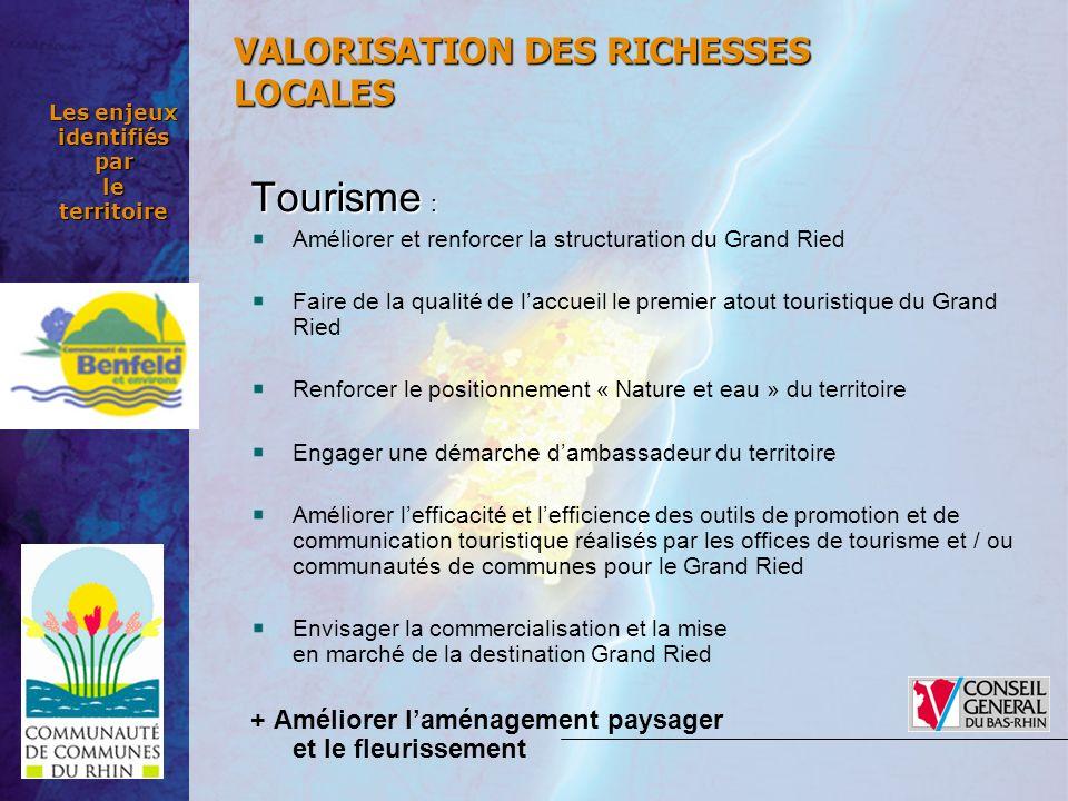 Les enjeux identifiés par le territoire Tourisme : Améliorer et renforcer la structuration du Grand Ried Faire de la qualité de laccueil le premier at