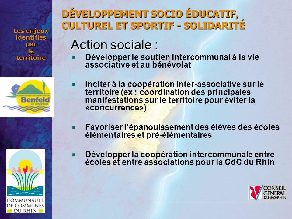 Les enjeux identifiés par le territoire Action sociale: Action sociale : Développer le soutien intercommunal à la vie associative et au bénévolat Inci