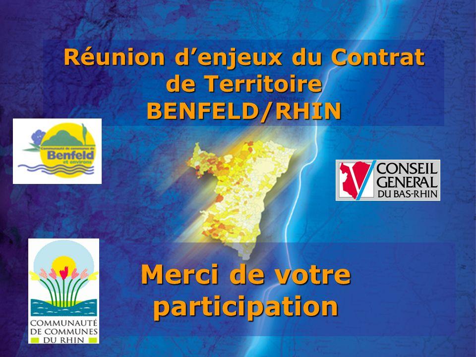 Réunion denjeux du Contrat de Territoire BENFELD/RHIN Merci de votre participation