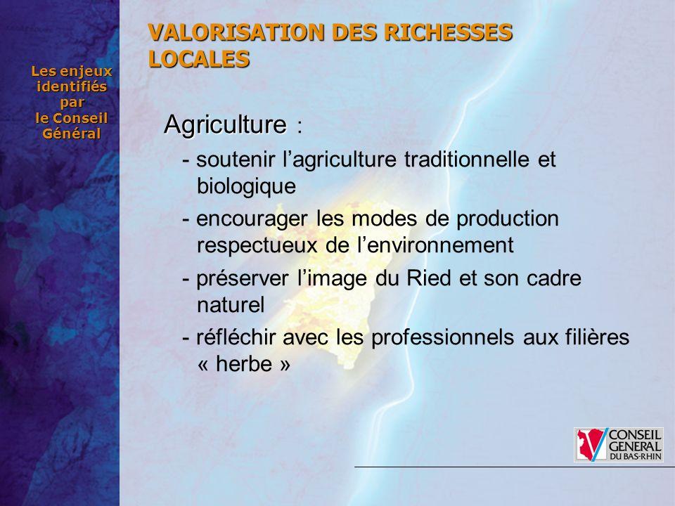 Les enjeux identifiés par le Conseil Général Agriculture Agriculture : - soutenir lagriculture traditionnelle et biologique - encourager les modes de