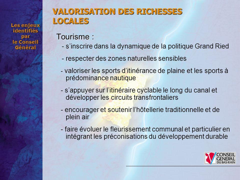 Les enjeux identifiés par le Conseil Général Tourisme : - sinscrire dans la dynamique de la politique Grand Ried - respecter des zones naturelles sens