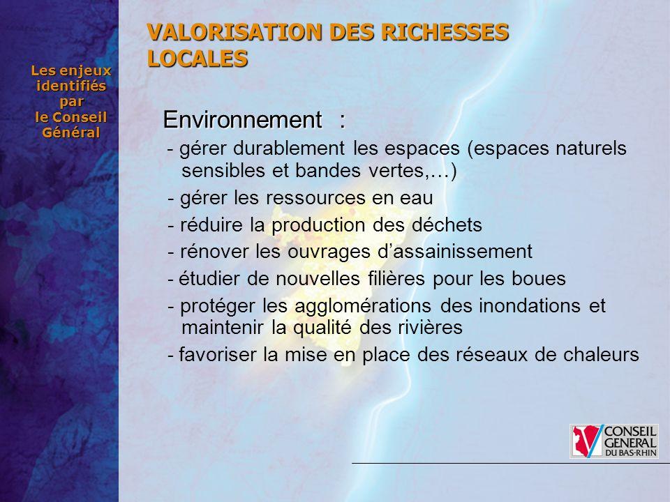 Les enjeux identifiés par le Conseil Général Environnement: Environnement : - gérer durablement les espaces (espaces naturels sensibles et bandes vert