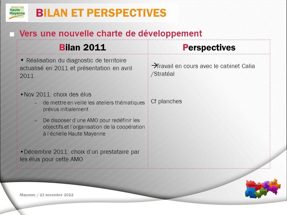 Vers une nouvelle charte de développement BILAN ET PERSPECTIVES Bilan 2011Perspectives Réalisation du diagnostic de territoire actualisé en 2011 et pr
