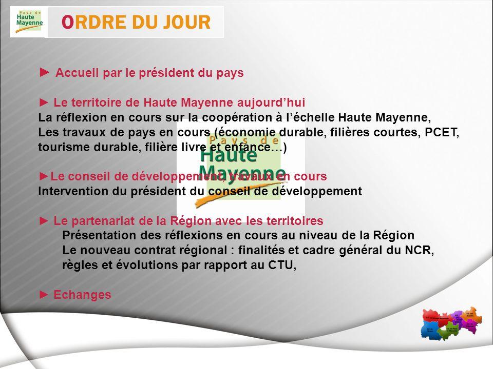 Accueil par le président du pays Le territoire de Haute Mayenne aujourdhui La réflexion en cours sur la coopération à léchelle Haute Mayenne, Les trav