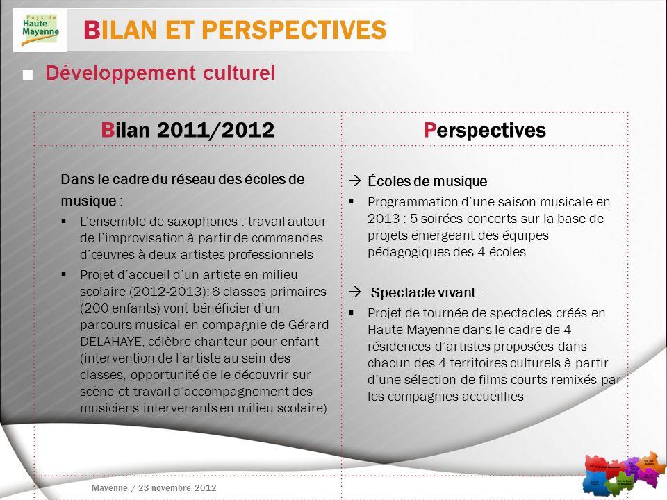 Développement culturel BILAN ET PERSPECTIVES Mayenne / 23 novembre 2012 Bilan 2011/2012Perspectives Dans le cadre du réseau des écoles de musique : Le