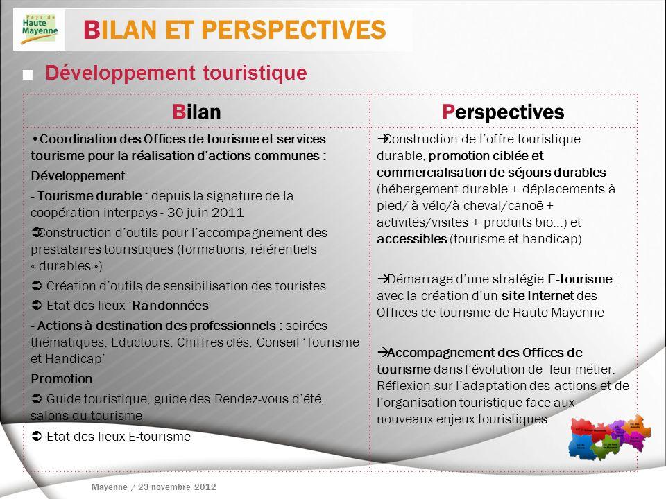 Développement touristique BilanPerspectives Coordination des Offices de tourisme et services tourisme pour la réalisation dactions communes : Développ