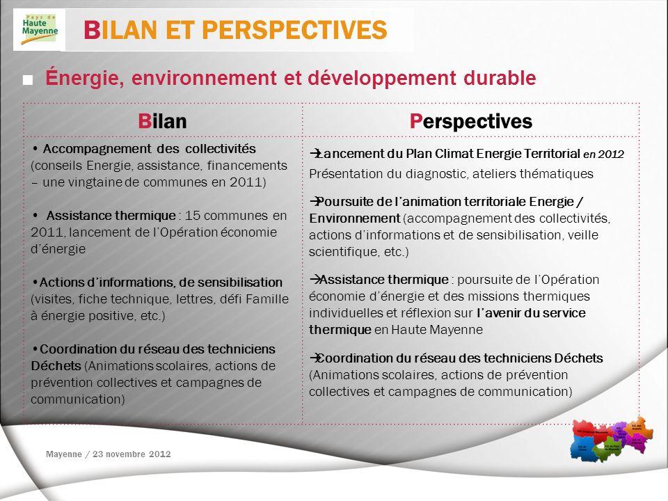 Énergie, environnement et développement durable BilanPerspectives Accompagnement des collectivités (conseils Energie, assistance, financements – une v