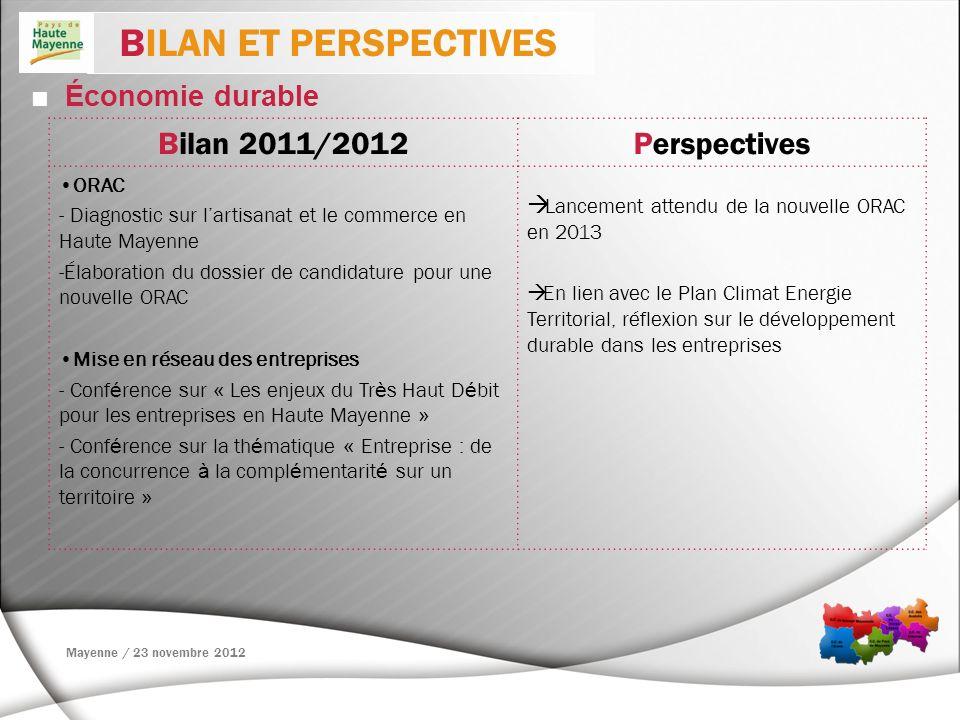 Économie durable BILAN ET PERSPECTIVES Bilan 2011/2012Perspectives ORAC - Diagnostic sur lartisanat et le commerce en Haute Mayenne -Élaboration du do