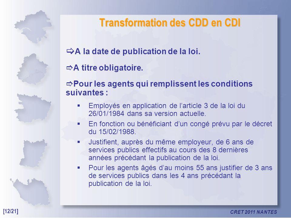 CRET 2011 NANTES Transformation des CDD en CDI A la date de publication de la loi.
