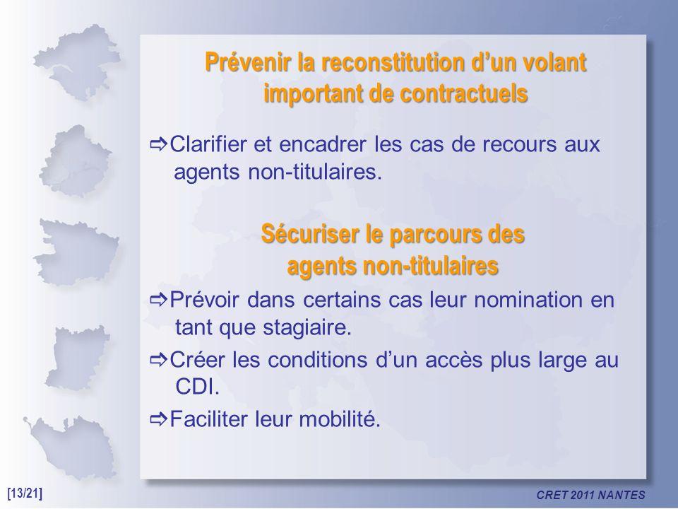 CRET 2011 NANTES Prévenir la reconstitution dun volant important de contractuels Clarifier et encadrer les cas de recours aux agents non-titulaires.