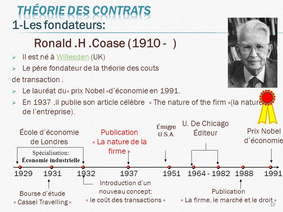 1-Les fondateurs: Ronald.H.Coase (1910 - ) Il est né à Willesden (UK)Willesden Le père fondateur de la théorie des couts de transaction. Le lauréat du