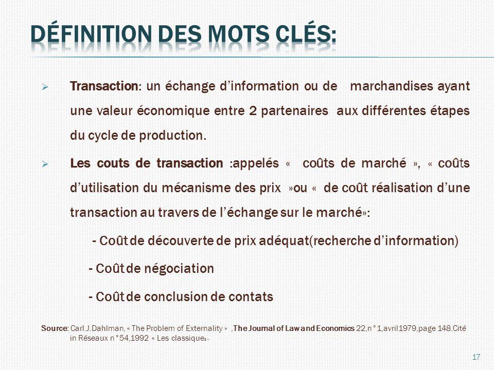 Transaction: un échange dinformation ou de marchandises ayant une valeur économique entre 2 partenaires aux différentes étapes du cycle de production.