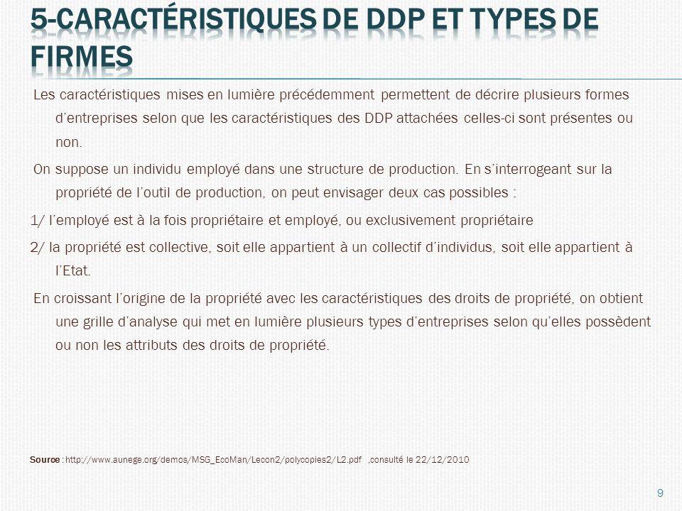 Les caractéristiques mises en lumière précédemment permettent de décrire plusieurs formes dentreprises selon que les caractéristiques des DDP attachée