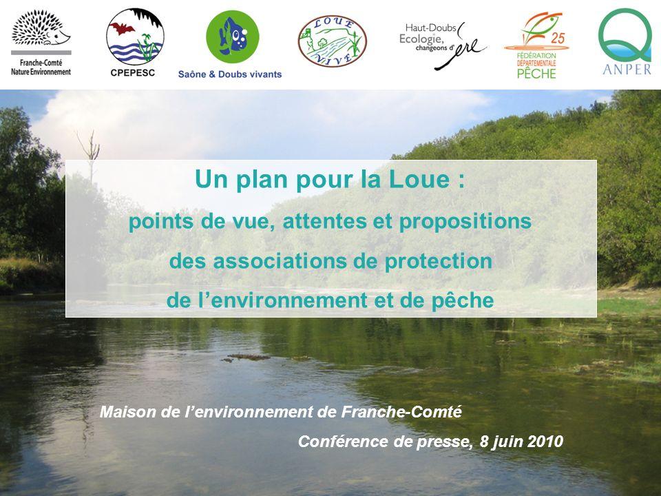 Maison de lenvironnement de Franche-Comté Conférence de presse, 8 juin 2010 Un plan pour la Loue : points de vue, attentes et propositions des associa