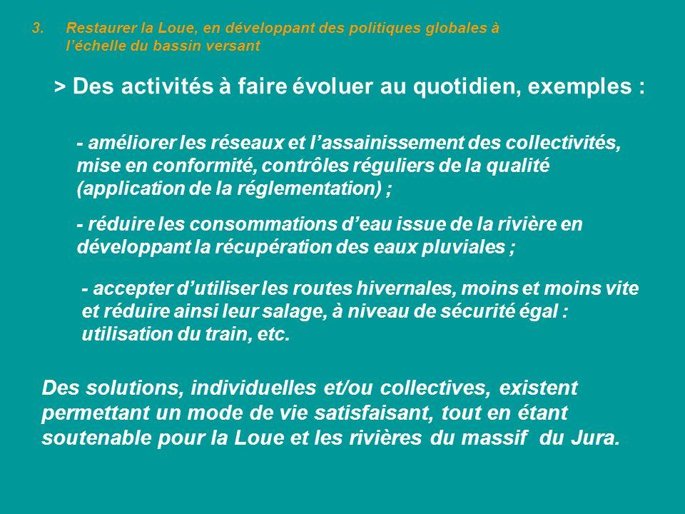 3.Restaurer la Loue, en développant des politiques globales à léchelle du bassin versant > Des activités à faire évoluer au quotidien, exemples : - am