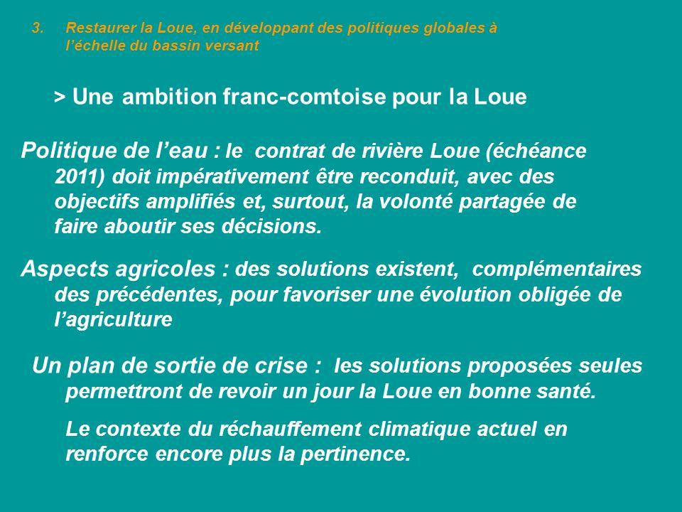 3.Restaurer la Loue, en développant des politiques globales à léchelle du bassin versant > Une ambition franc-comtoise pour la Loue Politique de leau