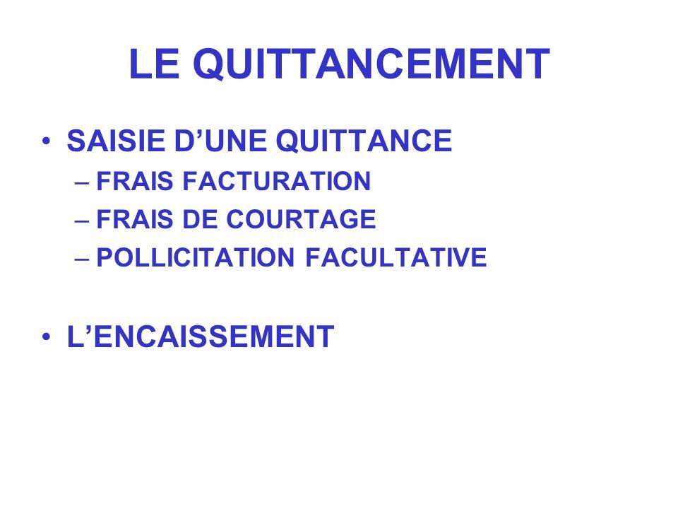 LE QUITTANCEMENT SAISIE DUNE QUITTANCE –FRAIS FACTURATION –FRAIS DE COURTAGE –POLLICITATION FACULTATIVE LENCAISSEMENT