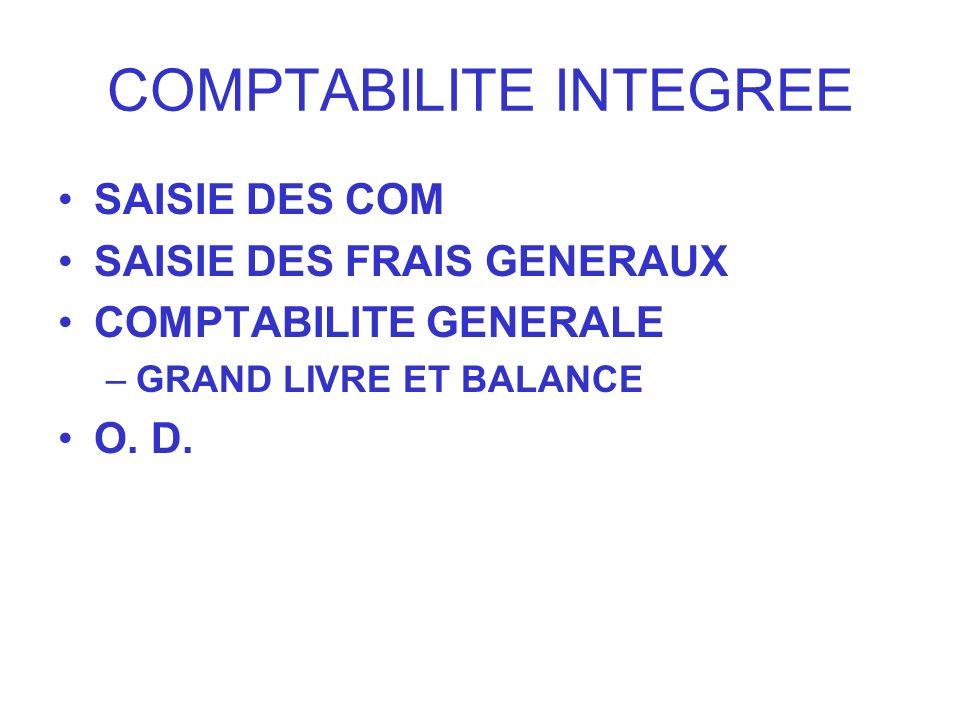 COMPTABILITE INTEGREE SAISIE DES COM SAISIE DES FRAIS GENERAUX COMPTABILITE GENERALE –GRAND LIVRE ET BALANCE O. D.